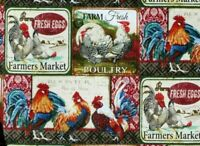 """7"""" REMNANT FABRIC ROOSTERS  FARMERS MARKET  FARM FRESH EGGS POULTRY 100% COTTON"""