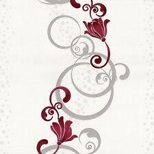 Tapete Blumen Design rot grau Vliestapete P+S Pure+Easy 13287-20 (2,10€/1qm)