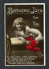 C1930's Birthday Card - Young Girl & Roses - Joys for You