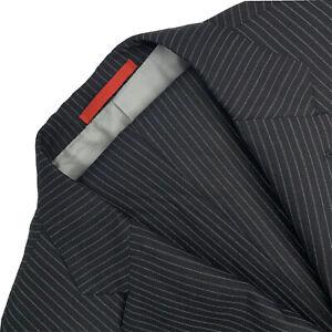 Mens 44 R ISAIA Napoli Black Stripe Super 200's 3/2 Roll Wool Suit Single Pleat