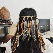 Women Feather Head Bands Hippie Headdress Bohemian Belt Beads Headband