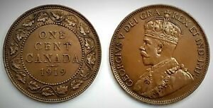 Canada 1919 Large Cent (INV0210) Brown MS-60!!