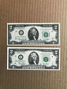 1976 USD $2 Bill - set of 2