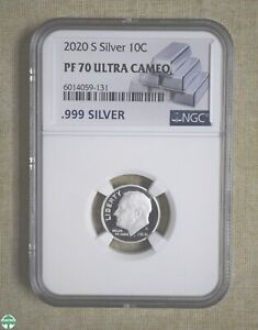 2020-S SILVER ROOSEVELT DIME - NGC CERTIFIED - PF 70 ULTRA CAMEO - FINENESS .999