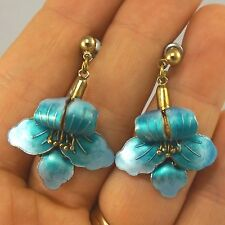 RARE Vintage Chinese Export Sterling Silver Enamel Violets Flowers Earrings