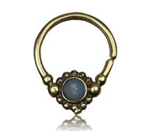 16G SEPTUM BRASS HANGING FAUX BLUE OPAL SMALL 9MM RING DIAMETER NOSE AFGHAN