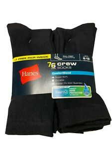 "Hanes® Men's 7-Pair BLACK CREW SOCKS  SHOE SIZE 6-12  """"COTTON""       NEW!!!"