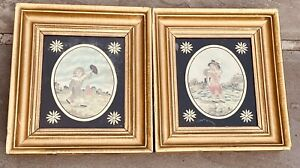 antique pair of early 1800 silk needleworks of small boys in gilt frames!