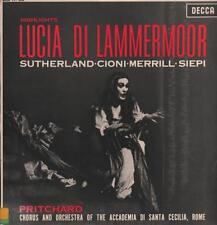 Donizetti (vinilo Lp) Lucia di Lammermoor Sutherland/Cioni/Merrill-DECCA-L-en muy buena condición/en muy buena condición