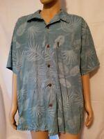 Palmwave Hawaiian Shirt Blue Palms Leaves 100% Cotton Mens Sz. 2XL XXL Button Up
