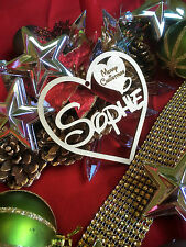 Personalised Christmas Tree Bauble Decoration or Gift Tag Disney font gold heart