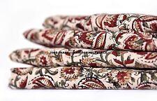 2.5 Yard Indian Natural Hand Block Floral Print Fabric 100% Cotton Apparel Decor
