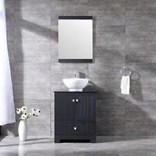 "Single 24"" Bathroom Vanity Cabinet Ceramic Sink Chrome Faucet Drain Combo Sets"