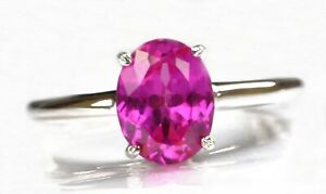 100% Natural African Tourmaline 1.50Ct Oval Shape Solitaire Ring 14KT White Gold