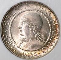1938 NGC MS 65 San Marino 5 lire BU Silver Coin (18092302C)
