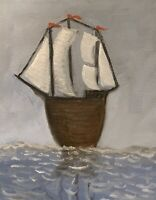 "Original Oil Painting Nautical Art Ship Sail Boat Seascape 8x10"" Signed Canvas"