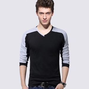 Men's Casual T Shirts Slim Fit Long Sleeve T-Shirt V-Neck Tee Shirt