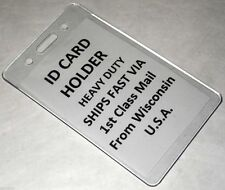 5 Vertical ID Card Badge Holders Heavy Duty Clear Plastic School Cruise Work Bus