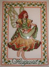 FINISHED CROSS STITCH Green August Fairy Completed AIDA EUC GLASS FRAME Russian?