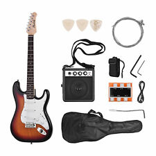 More details for sunburst electric guitar solid wood paulownia body 21 frets with speaker gig bag