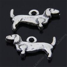 20pc Retro Tibetan Silver 2-Sided Daschund Dog Animal Pendant Charms Beads B485P