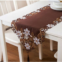 Embroidery Floral Table Runner Tablecloth Wedding Party Dining Room Decoration D