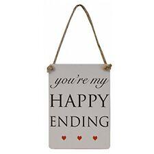 "Mini Wedding & Engagement ""You're my Happy Ending"" Metal Sign/Plaque 9x6cm"