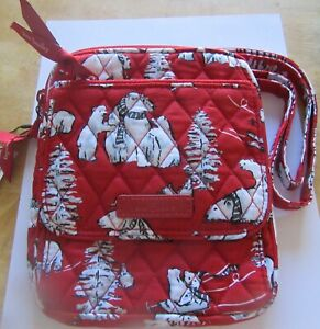 Vera Bradley BEARY MERRY RED  Mini Hipster- Polar Bears-red  3 compartment