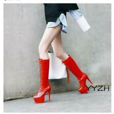 Womens Patent Leather Super High Stiletto Heels Platform Lace up Knee High Boots