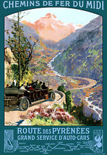 Affiche chemin de fer Midi - Route des Pyrénées