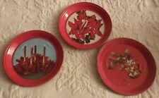 "Set of 3 Tin Holiday Red Christmas Coasters Round 3.25"" Diameter"