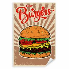 Postereck 1127 Poster Leinwand Hot Burger, Hamburger Essen Vintage Fast Food