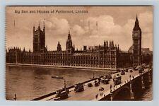 London United Kingdom, Big Ben, Houses Of Parliament, Vintage c1930 Postcard