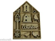 Craft Emotions BOX OF WOODEN SHAPES ORNAMENTS Bird, Birdhouse 50pc 0321