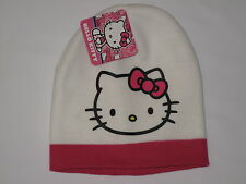 NWT HELLO KITTY knit hat Girl ONE SIZE FITS MOST (3-16?) pink white