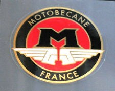 Motobecane Round Head Badge Decal--Black on Red/Mirror Gold Border (sku Moto705)