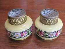 """ANTIQUE FALCON(WARE) No 2 PAIR OF 5"""" YELLOW FLOWER FROG VASES, MADE IN ENGLAND"""