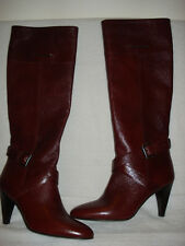 100% AUTHENTIC NEW WOMEN BURBERRY BURGUNDY RIDING LEATHER BOOTS US 7.5