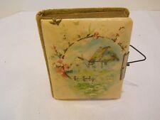 Antique Victorian small celluloid velvet photo album 15 peek a boo calling cards