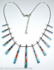 Multicolor & Blue Fire Opal Inlay 925 sterling silver Southwestern Necklace
