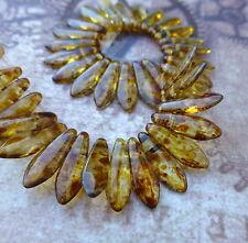 Brin de 50 perles en verre - 2 trous dagger beads crystal picasso DGR2-516-T00030