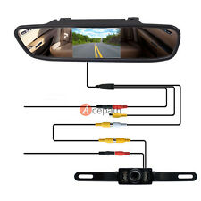 """4.3"""" LCD Monitor RearView Mirror + Car Reverse Licence Plate Backup Camera Wired"""