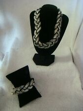 fashion braided  coller necklace & bracelet set in black and silver