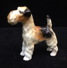 Vintage Fine Porcelain Miniature Tri-Color Fox Terrier Dog Figurine S Mark Foot