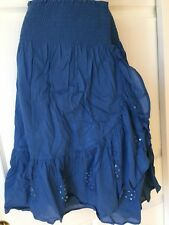 New_Boho Wrap Around Embroidered Sequined Cotton Skirt_Blue_Gorgeous