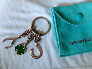 Tiffany & Co Silver Clover Wishbone Horseshoe Keychain Key Chain Ring
