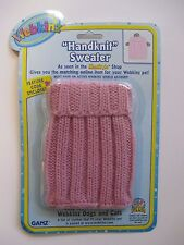 "xbx pink Handknit Sweater WEBKINZ PET CLOTHING 8"" doll bear new with code"