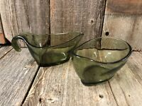 Mid Mod Vintage Creamer And Sugar Set Clear Green Glass Open Design 2 Pieces