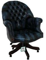Chesterfield Directors Swivel Office Chair Antique Blue Leather