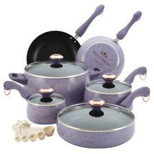 Cookware Set Lids Non-Stick Oven Safe Porcelain 15-Piece Lavender Speckle Purple